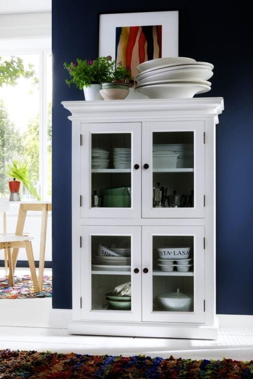 Vaisselier en bois blanc acajou 4 portes vitrées 90x130cm ROYAN