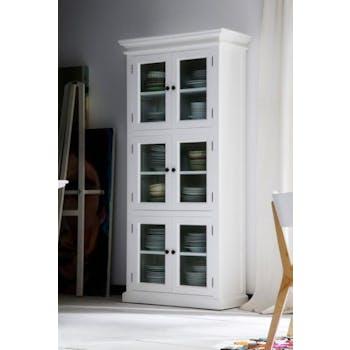 Vaisselier haut en bois blanc 6 portes vitrées acajou 90x190cm ROYAN
