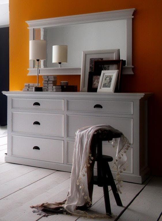 Commode bois blanc moderne 6 tiroirs acajou 145x85cm ROYAN