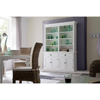 Buffet bibliothèque bois blanc 2 tiroirs 4 portes acajou 160x220cm ROYAN