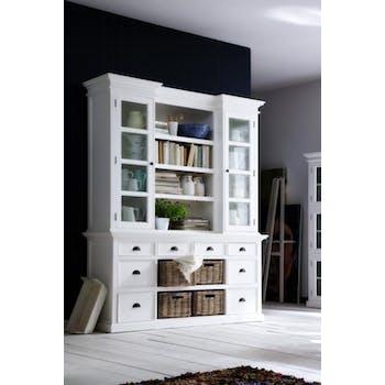 Bibliothèque bois blanc 8 tiroirs 2 portes acajou 4 paniers en rotin 180x215cm ROYAN