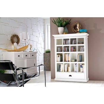 Bibliothèque en bois blanc 1 tiroir acajou 100x130cm ROYAN