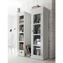 Vitrine bois blanc étroite 1 porte acajou 70x35x190cm ROYAN