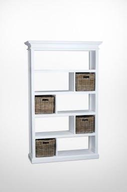 Etagère bois blanc 9 cases acajou 4 paniers rotin 120x190cm ROYAN