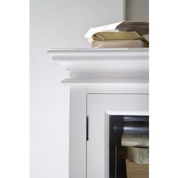 Grande bibliothèque vaisselier blanche 2 corps 6 portes 240x220cm acajou ROYAN
