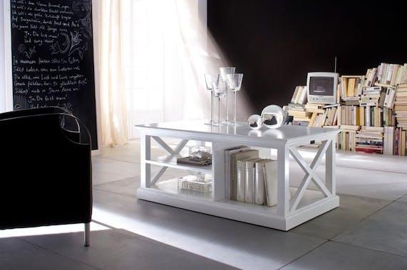 Table basse avec rangement blanc 120x70cm acajou ROYAN