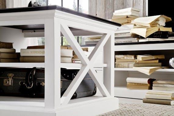 Table basse avec rangement blanc et plateau noir 120x70cm acajou ROYAN