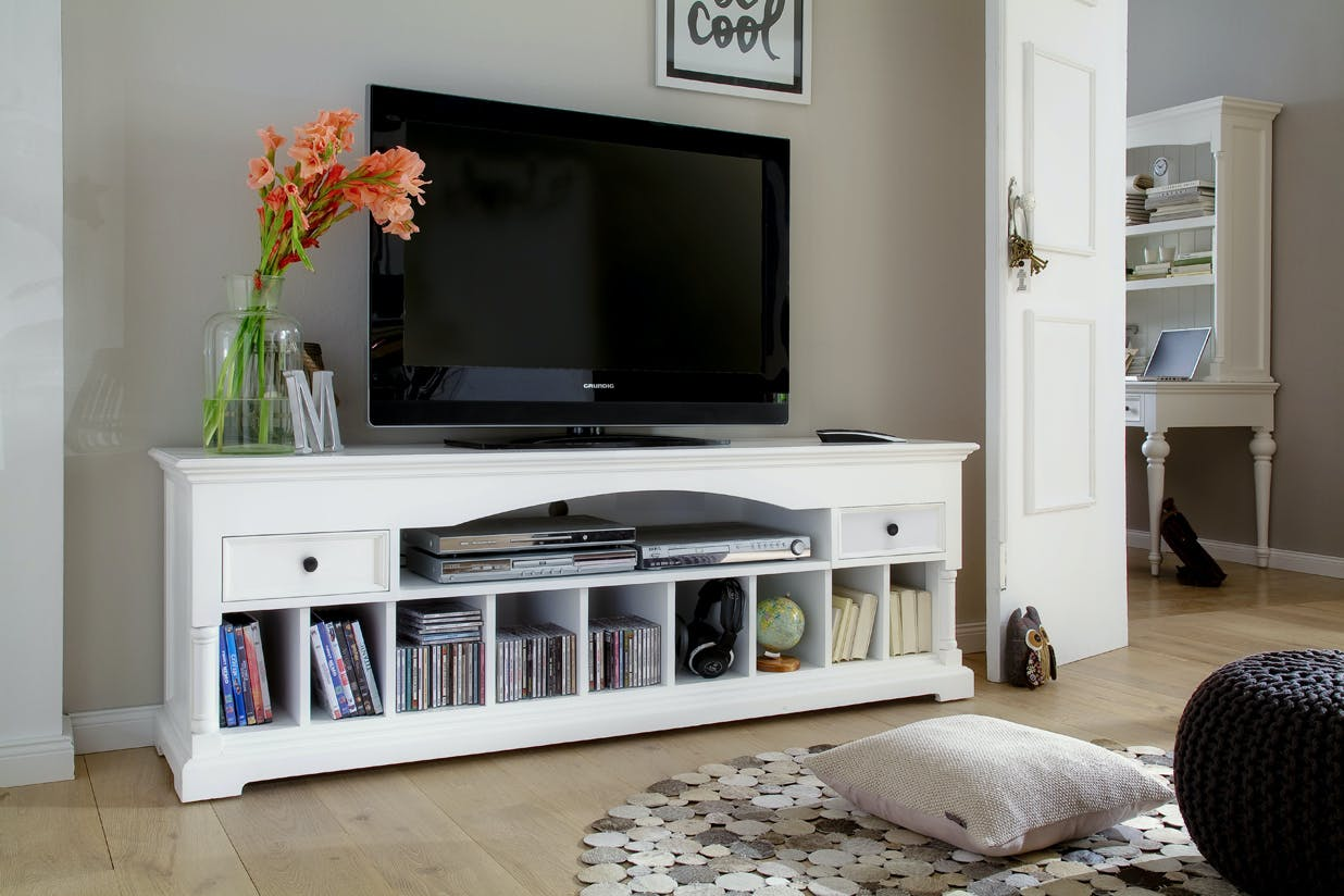 Meuble TV en bois blanc 2 tiroirs et niches de rangement 180x60cm acajou ROYAN