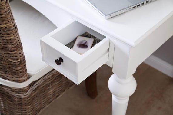 Bureau secrétaire en bois blanc avec tiroirs et étagères 120x190cm acajou ROYAN