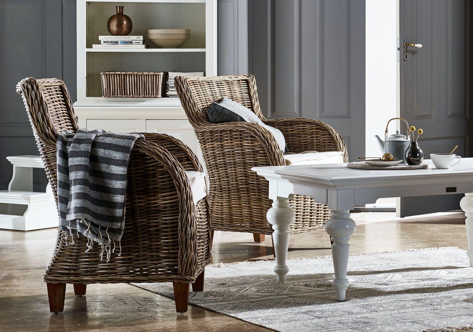 Fauteuil / Chaise de salle à manger en rotin accoudoirs et coussin 69x90cm ROYAN