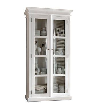 Etagère vitrine moderne en bois blanc acajou 100x190cm ROYAN