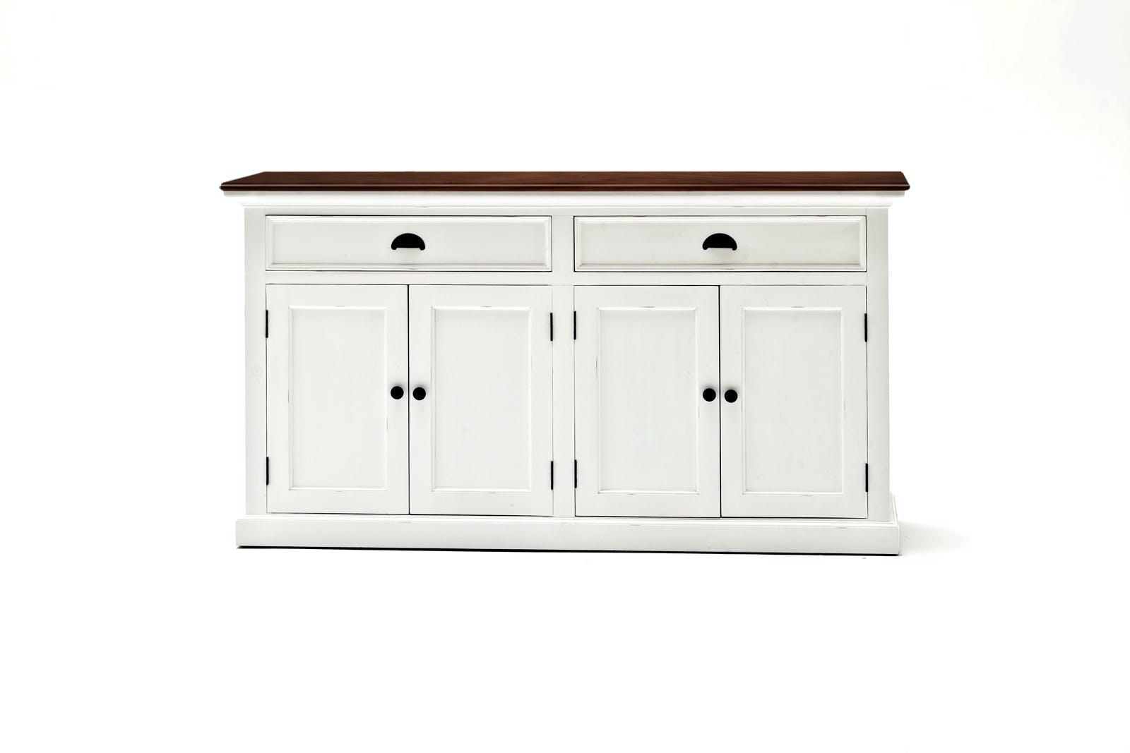 Buffet enfilade blanc plateau acajou 2 tiroirs 4 portes 145x85cm ROYAN