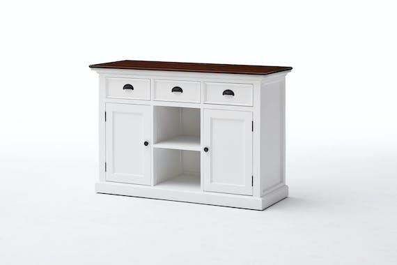Buffet blanc avec plateau acajou 3 tiroirs 2 portes 2 casiers 125x85cm ROYAN