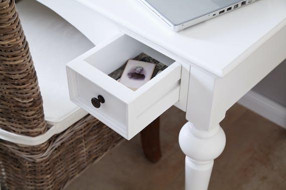 Bureau en bois blanc acajou 2 tiroirs 120x76cm ROYAN