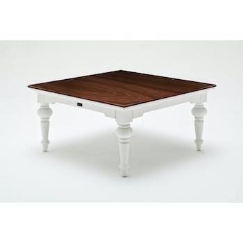 Table basse carrée en bois blanc avec plateau acajou 100x100cm ROYAN