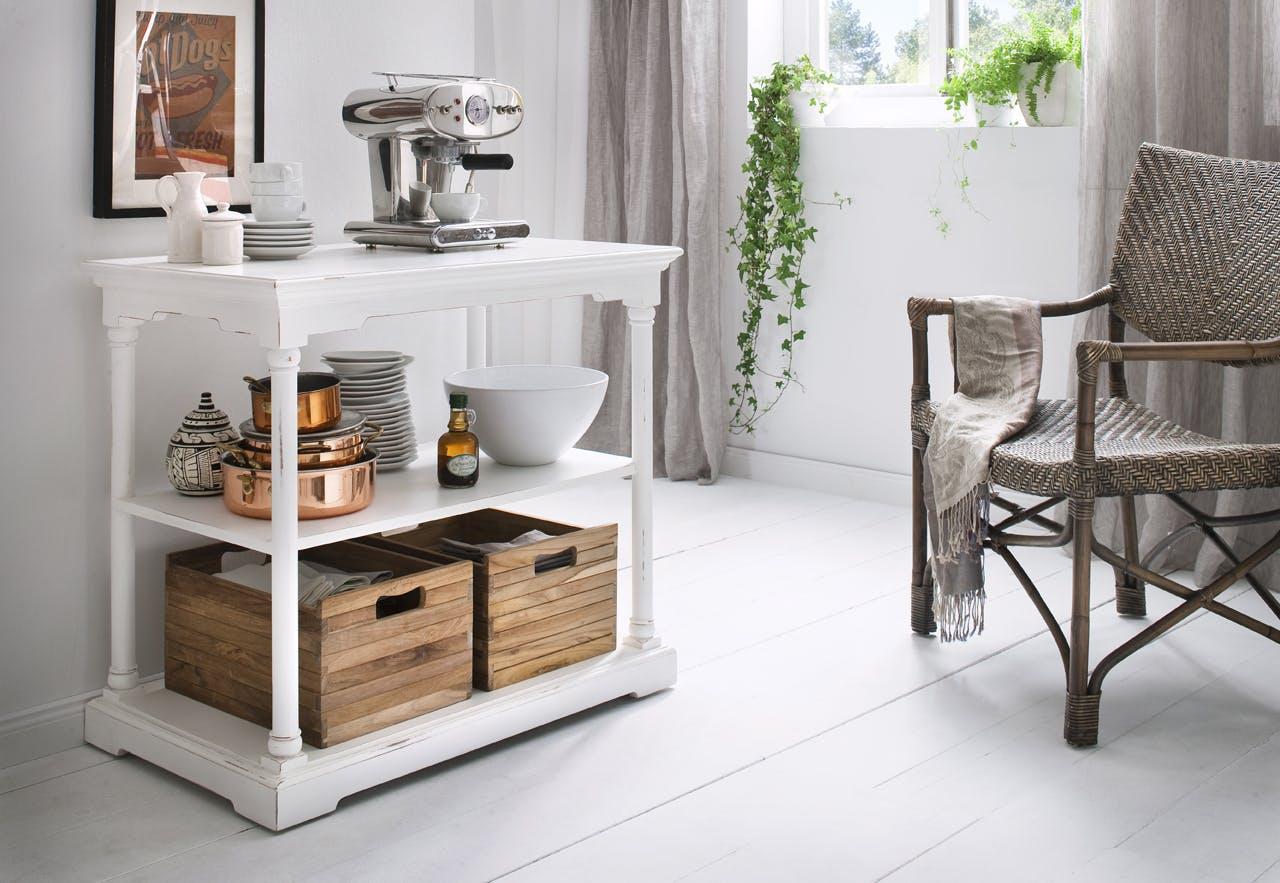 Console 3 niveaux en bois blanc acajou avec 2 caisses en bois 90x80cm ROYAN