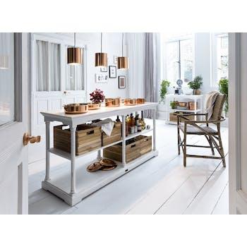 Console / Dressoir 3 niveaux en bois blanc, 4 caisses en bois 160x80cm ROYAN