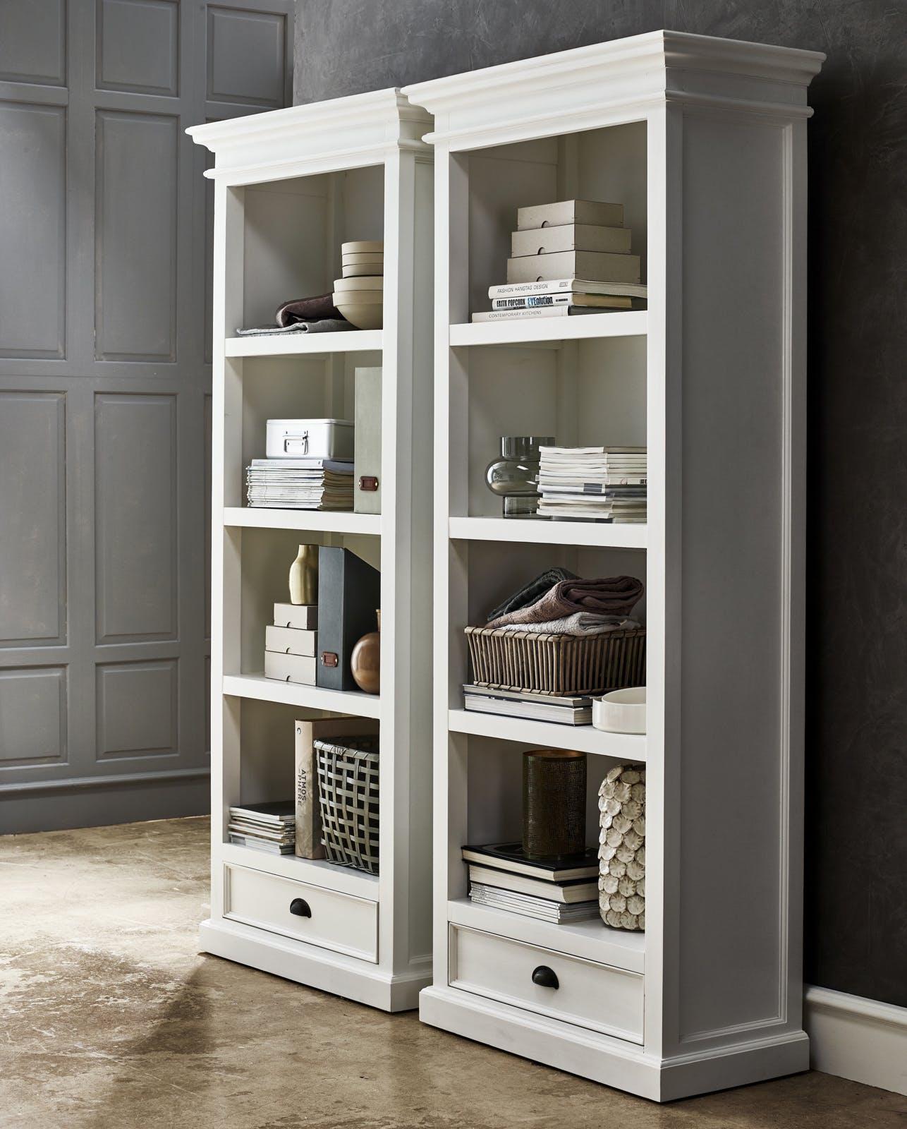 Bibliothèque étagère en bois blanc acajou 1 tiroir 80x190cm ROYAN