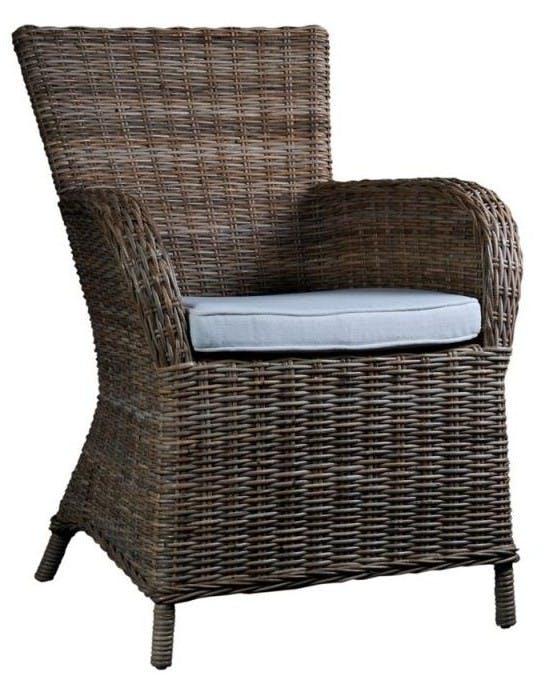 Fauteuil / Chaise en rotin avec accoudoir et coussin 65x90cm ROYAN