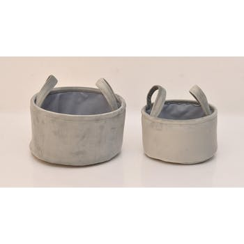 Paniers gris velours à anses (lot de 2)