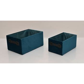 Paniers bleus velours rectangle (lot de 2)