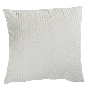 Coussin façon tricot blanc