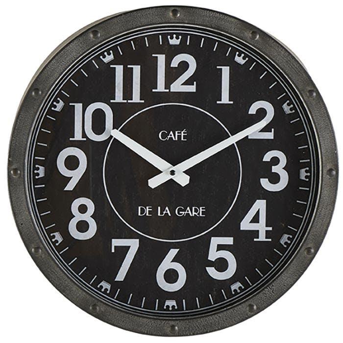 Horloge murale noire café de la gare