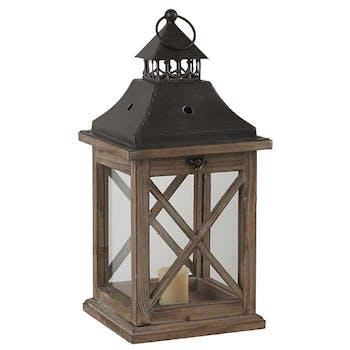 Lanterne bois métal H42cm
