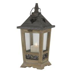 Lanterne bois métal forme cœur H40cm