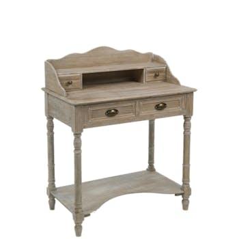 Bureau secrétaire 4 tiroirs en bois naturel patiné grisé blanchi L80xP48xH101cm PAOLIA