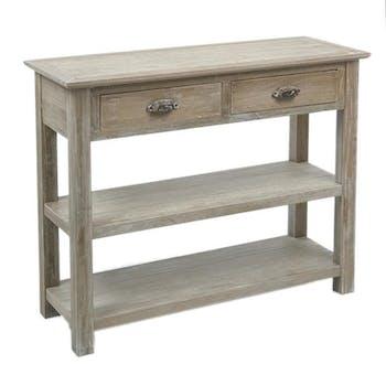 Console drapier bois naturel patiné grisé blanchi 2 tiroirs 2 niveaux inférieurs L100xP37xH81cm PAOLIA