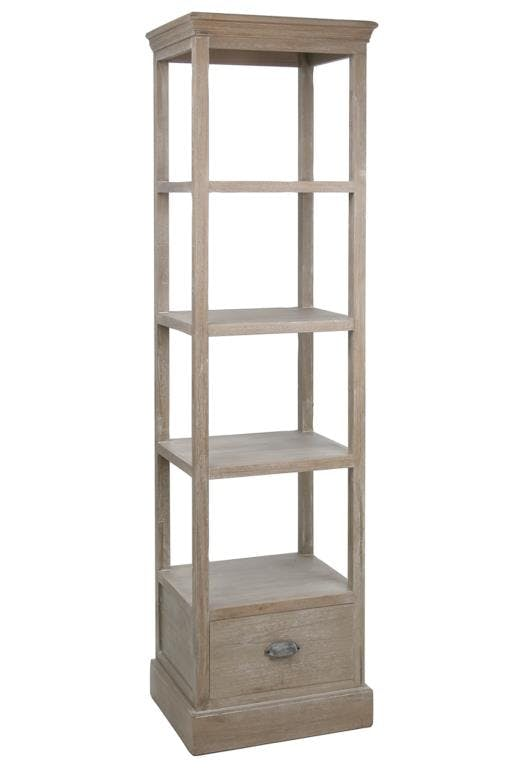 Etagère bois naturel patiné grisé blanchi 4 niveaux, 1 tiroir bas L51xP41xH185cm PAOLIA