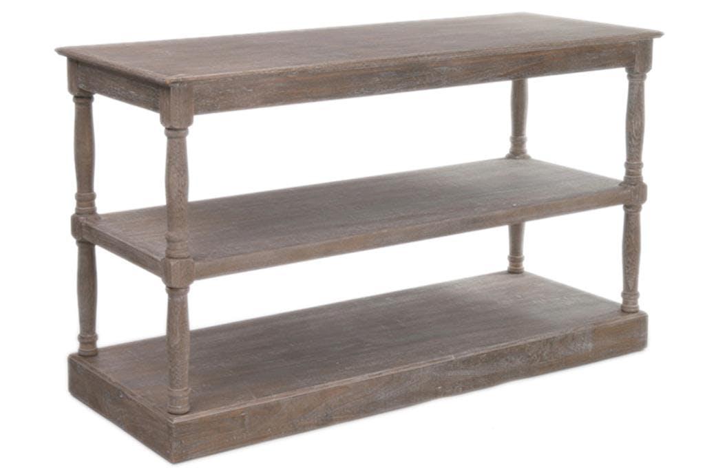 Console drapier bois naturel patiné grisé blanchi 3 niveaux pieds tournés L141xP55xH86cm PAOLIA