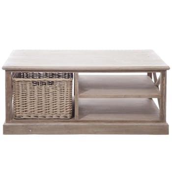 Table basse de salon bois naturel patiné grisé blanchi avec plateau et 1 panier amovible L120xP69xH50cm PAOLIA