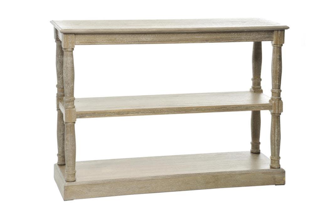 Console drapier bois naturel patiné grisé blanchi à 3 niveaux L110xP34xH81cm PAOLIA