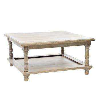 Table basse carrée bois naturel patiné grisé blanchi en paulownia à 2 niveaux L80xP80xH40cm PAOLIA