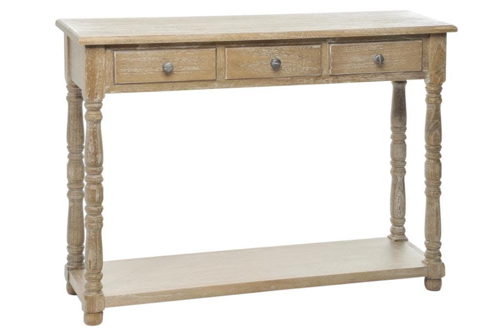 Console bois naturel patiné grisé blanchi 3 tiroirs et 1 niveau bas L100xP30xH75cm PAOLIA