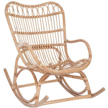 Rocking chair rotin naturel 110x66x93cm