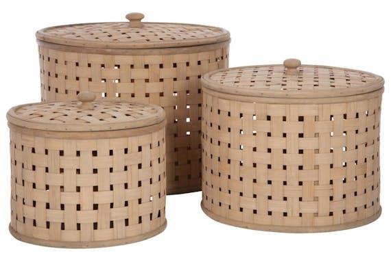 Boite ronde tressée bambou naturel Grand modèle 32x24cm