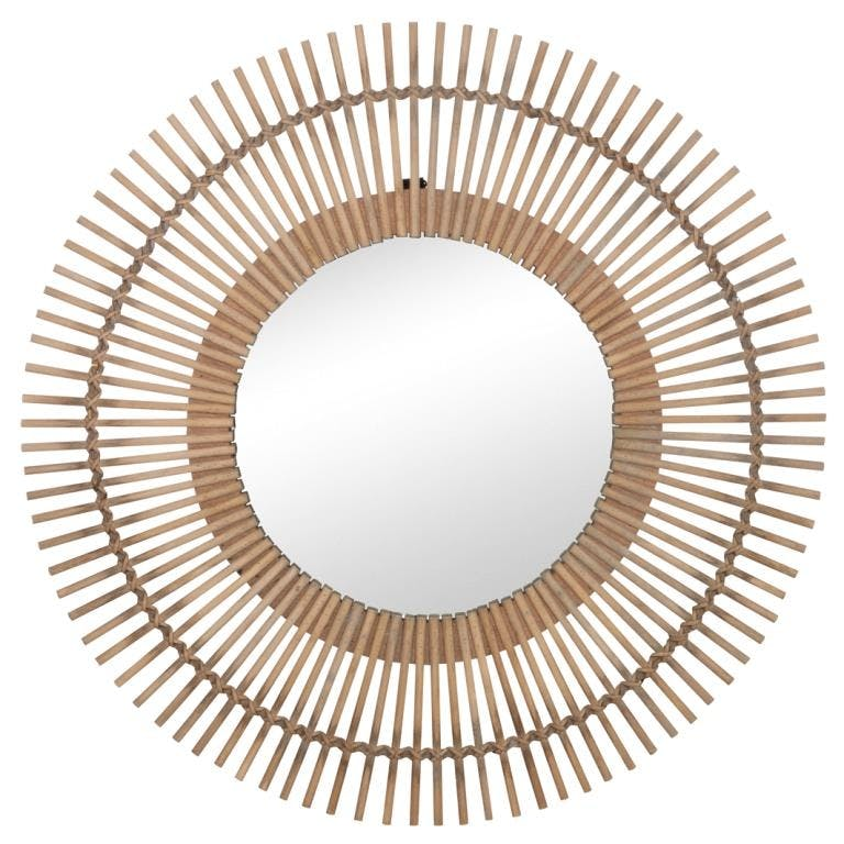 Miroir soleil bambou verre naturel D.75cm