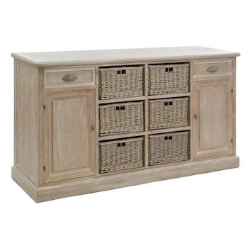 Buffet 2 portes bois naturel patiné grisé blanchi, deux tiroirs et 6 paniers amovibles L158xP40xH85cm PAOLIA
