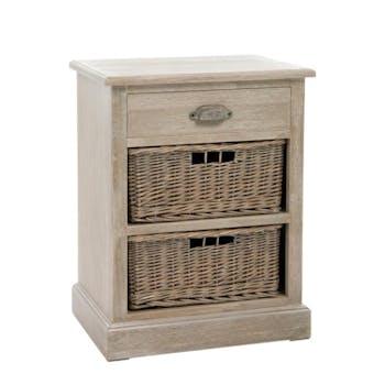 Table de chevet bois naturel patiné grisé blanchi 1 tiroir et 2 paniers amovibles L45xP36xH60cm PAOLIA