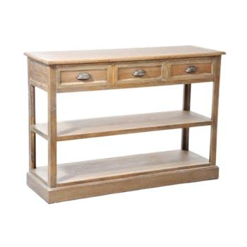 Console bois naturel patiné grisé blanchi 3 tiroirs 1 étagère et 1 niveau bas L120xP40xH84cm PAOLIA