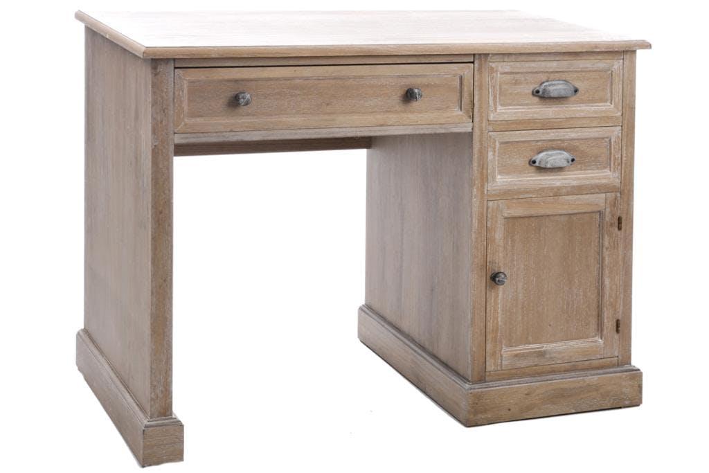 Bureau bois naturel patiné grisé blanchi 3 tiroirs et 1 porte L100xP51xH77cm PAOLIA