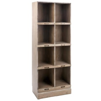 Meuble bibliothèque bois naturel patiné grisé blanchi- rangement 8 cases L60xP31xH170cm PAOLIA