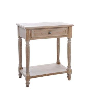 Table de chevet bois naturel patiné grisé blanchi 1 tiroir 1 étagère L60xP37xH69cm PAOLIA