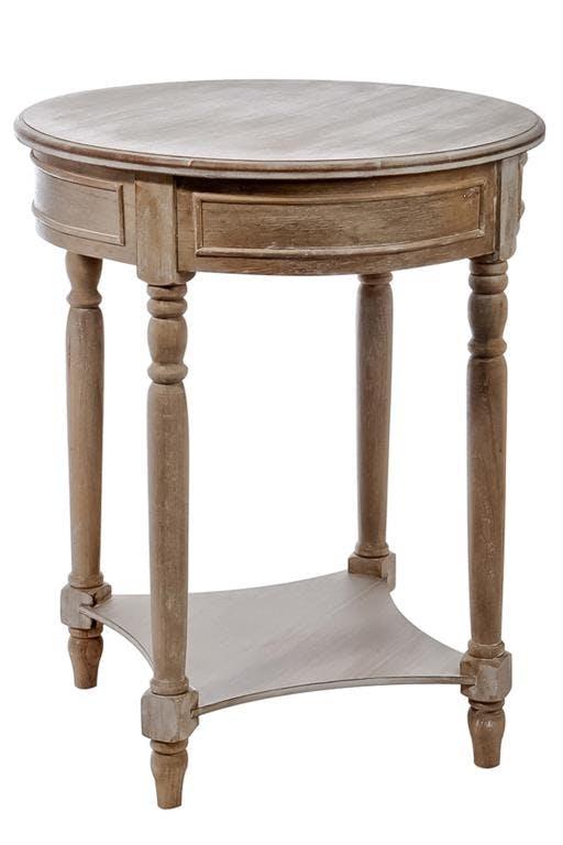 Selette bois naturel patiné grisé blanchi, table ronde D60xH75cm PAOLIA