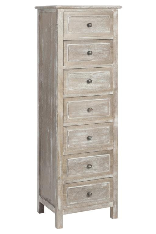 Commode semainier bois naturel patiné grisé blanchi 7 tiroirs L45xP35xH140cm PAOLIA