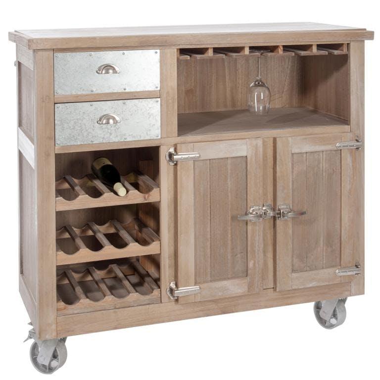 Meuble bar bois naturel patiné grisé blanchi sur roues, 2 tiroirs, 2 portes L127xP58,5xH115cm PAOLIA
