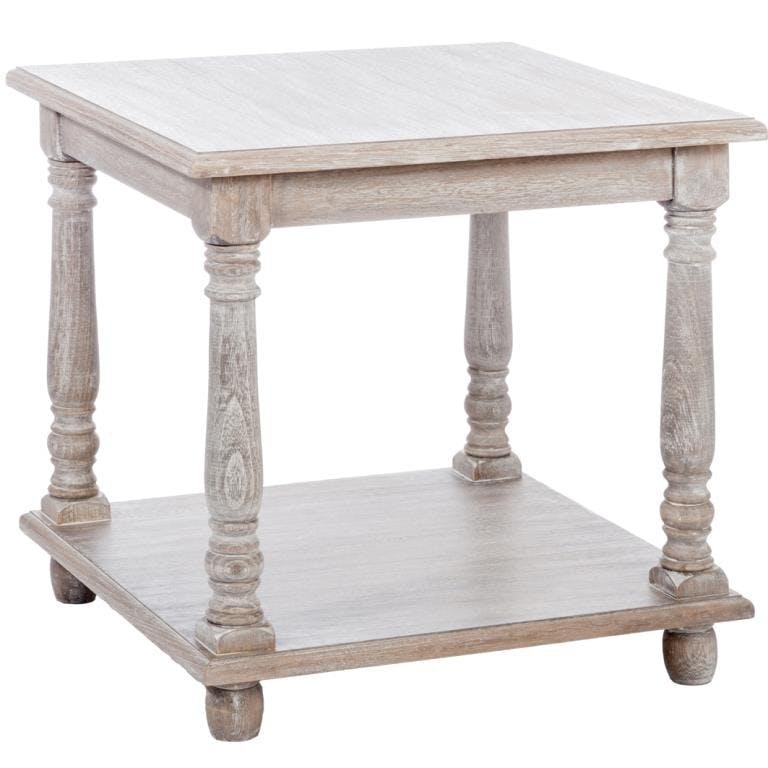 Table basse de salon carrée bois naturel patiné grisé blanchi à 2 niveaux L50xP50xH50cm PAOLIA